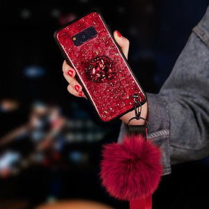 Diamond Red Marble - Red / For S7 / With Holder Strap