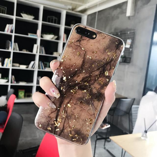 Gold Bling Marble - Brown / For iPhone 6s Plus