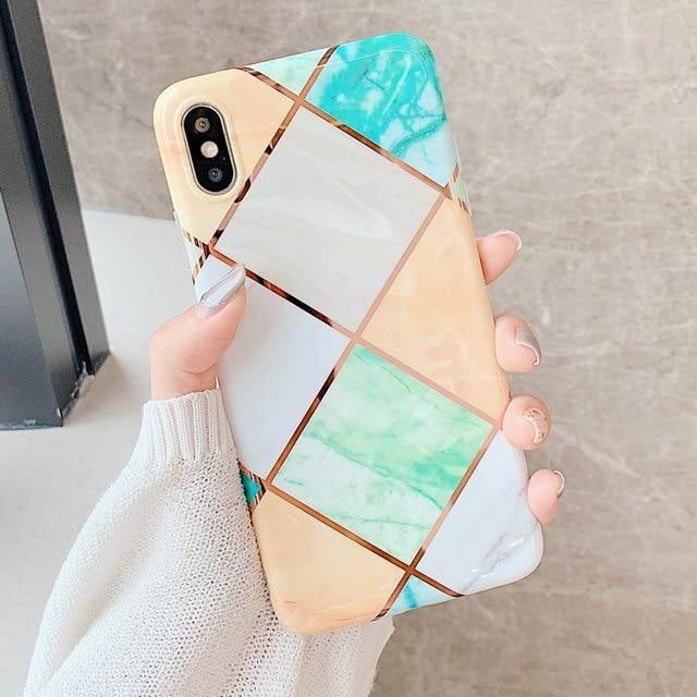 Green and Orange Geometric Marble - For iphone XS Max / Orange