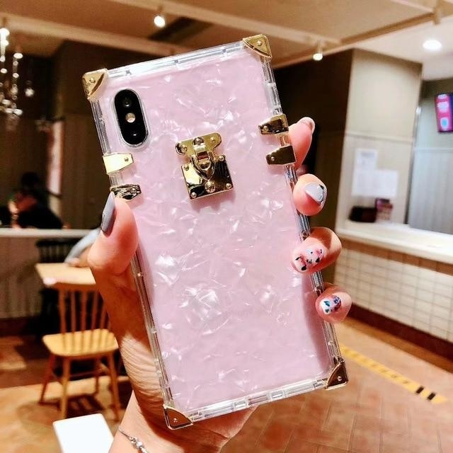 Pink Square Corner Bling Bling - Pink Sqaure Bling Bling / For iPhone 6 6S