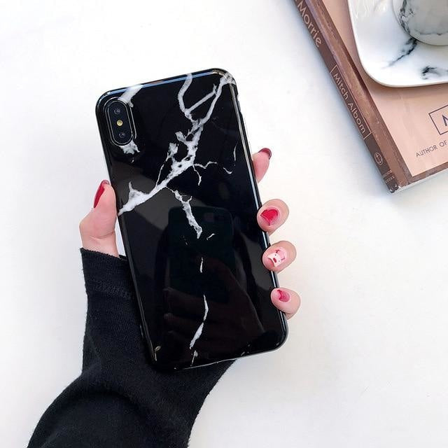 Shiny Black Marble - For iphone 6 6S Plus / F32