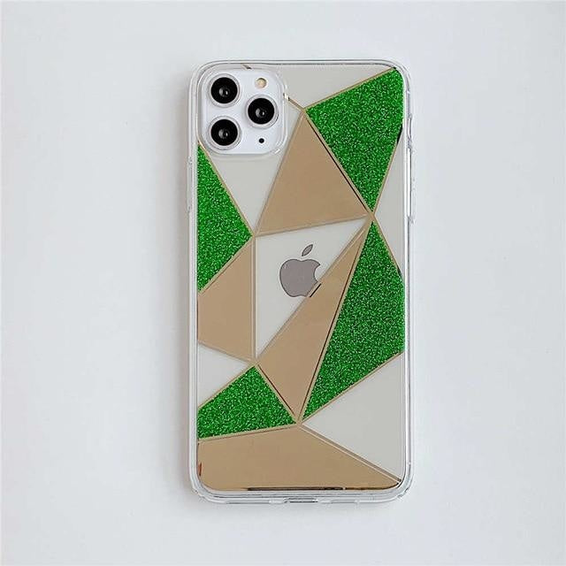 Transparent Geometric Forest - For iphone XS / Green