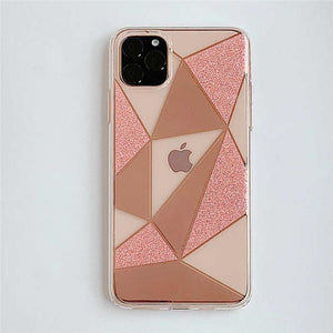 Transparent Geometric Peach - For iphone X / Pink