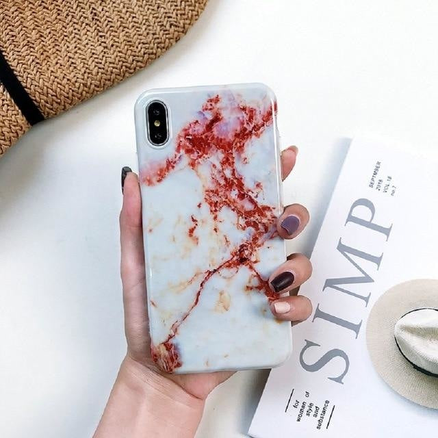 White and Red Marble - White and Red Marble / iPhone X