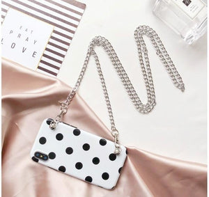 White Case with Dot (comes with Chain) - HTA23 with strap2 / for iphone 6 6s