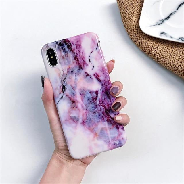 White Purple Marble - For iphone 6 6S / F9