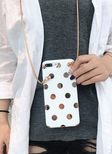 White with gold dot (comes with chain) - HTA23 with strap1 / for iphone 6 6s