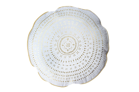 HOLIDAY Round Pillow - Ceramics (White & Metallic Gold)