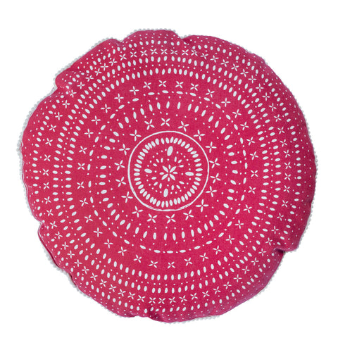 HOLIDAY Round Pillow - Ceramics (Red & White)
