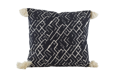 PALM Tassel Pillow - Tribal (Raven/Natural)