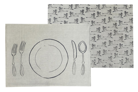 SWAN LAKE Placemat Pack (Set of 4) - In Flight (Natural/Denim)