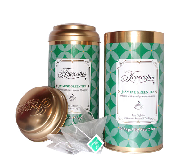 Jasmine Green Tea Organic Pyramid Bags - 40 bag tin