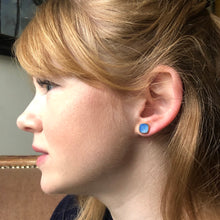 Load image into Gallery viewer, gemstone studs in blue chalcedony