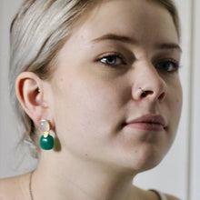 Load image into Gallery viewer, Audrey earring in moonstone and green agate in gold vermeil