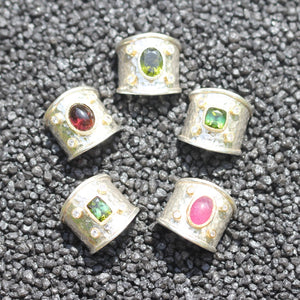 Costanza ring with tourmaline in silver and gold