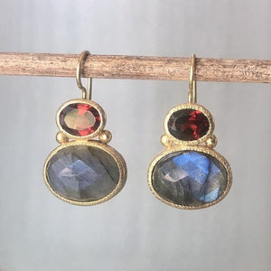 garnet and labradorite earrings in gold