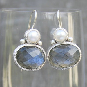 pearl and labradorite in silver