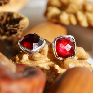 garnet stones stud earrings in silver