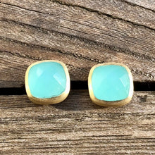 Load image into Gallery viewer, chalcedony stud earrings in chalcedony