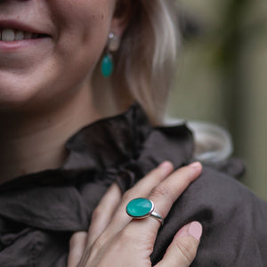 Audrey earring in silver with moonstone and chalcedony and large belle ring in blue green chalcedony to match