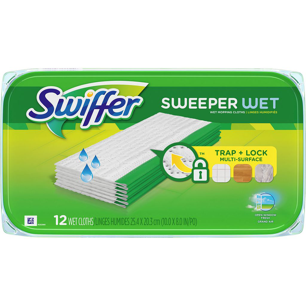 SWEEPER WET MOPPING PAD MULTI SURFACE REFILLS FOR FLOOR MOP, OPEN WINDOW FRESH SCENT, 12 Ct