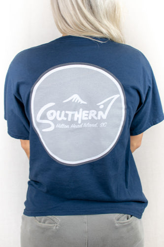 Navy Short Sleeve Circle Logo Tee