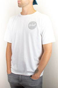 White Short Sleeve Circle Logo Tee
