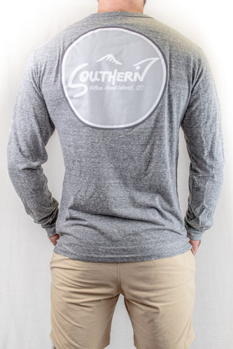 Tri-Blend Heather Grey Long Sleeve Circle Logo Tee