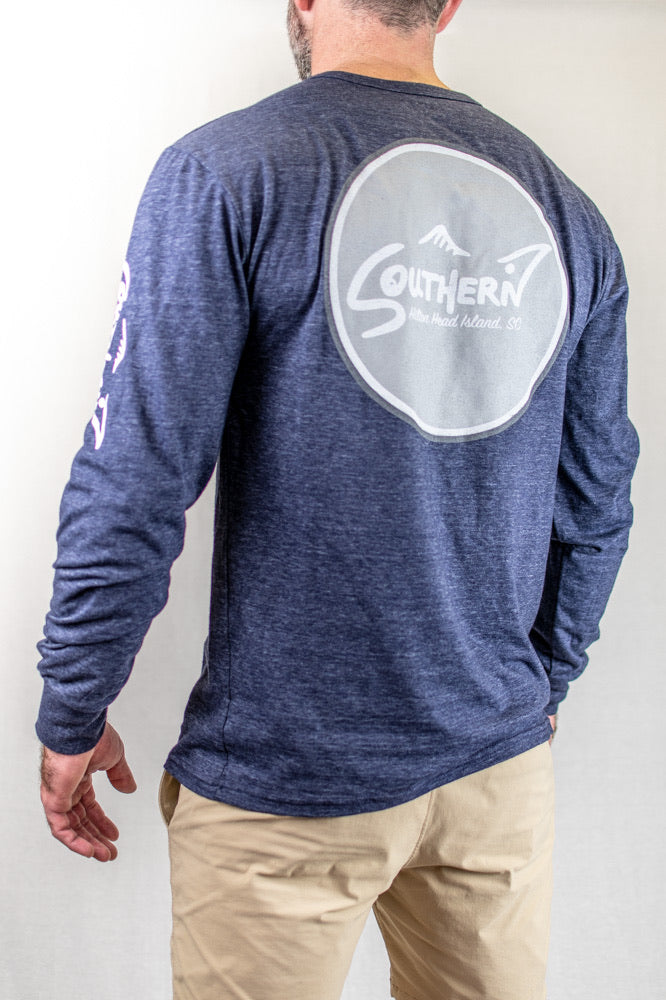 Tri-Blend Navy Long Sleeve Circle Logo Tee