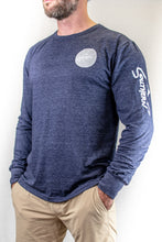 Load image into Gallery viewer, Tri-Blend Navy Long Sleeve Circle Logo Tee