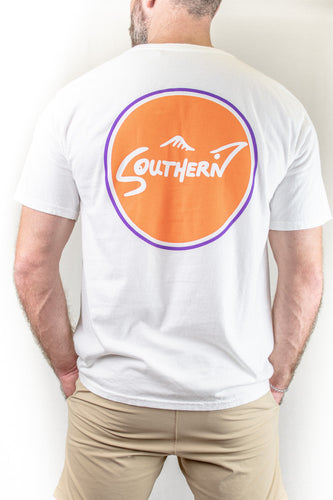White & Orange Short Sleeve Southern Tee