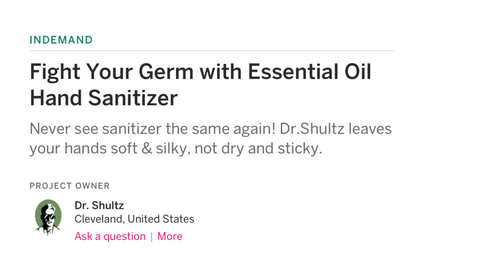 Screenshot of Doc Shultz Hand Sanitizer Indiegogo Funding