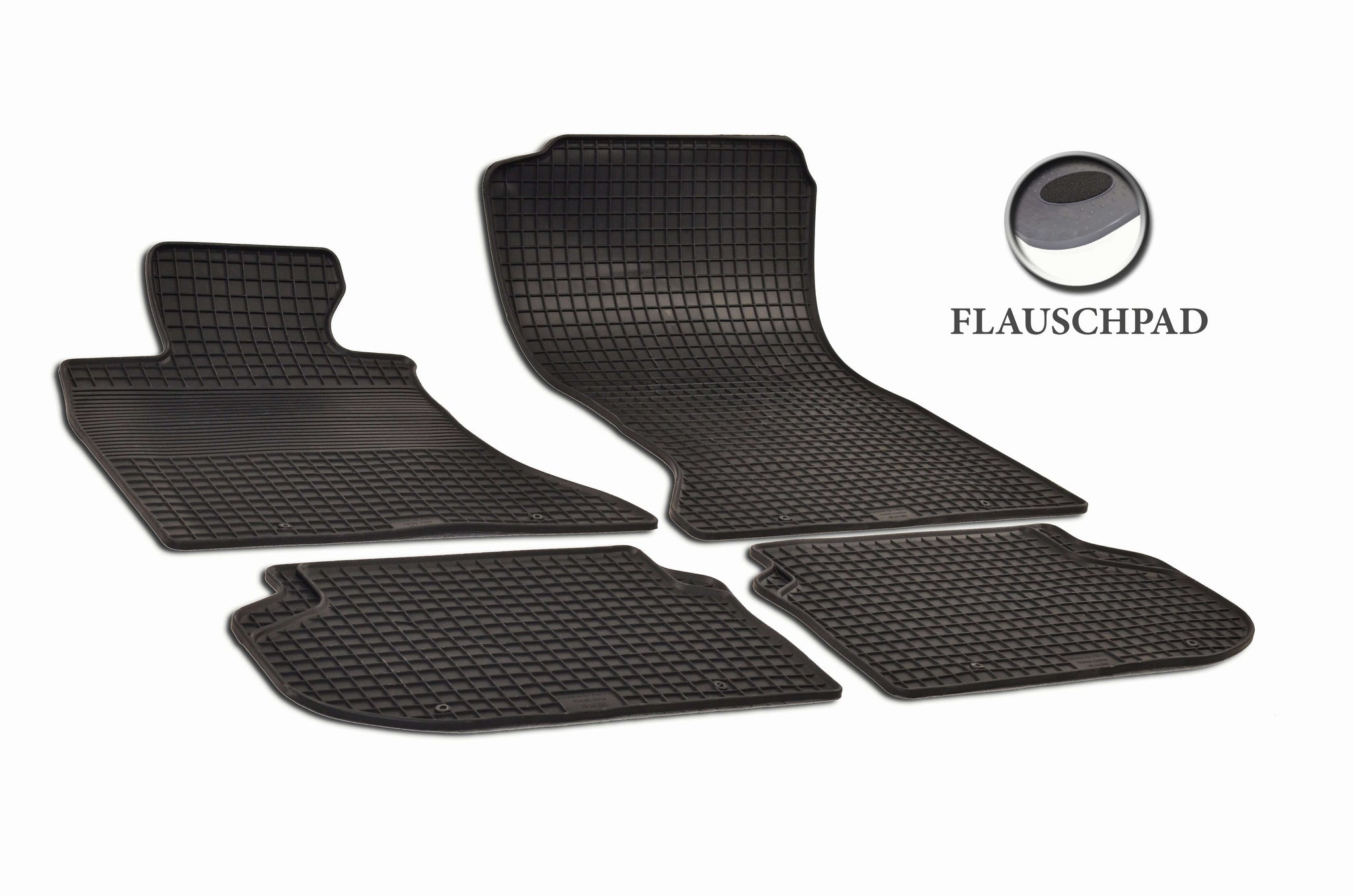 BMW 528i 2013 F10 Sedan Set of 4 Black Rubber OE Fit All Weather Car Floor Mats