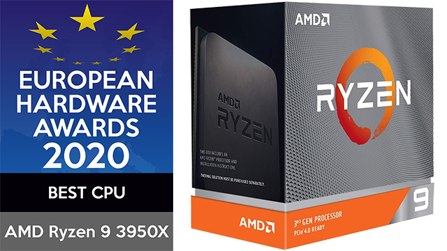 European Hardware Awards 2020 Best CPU AMD Ryzen 9 3950x