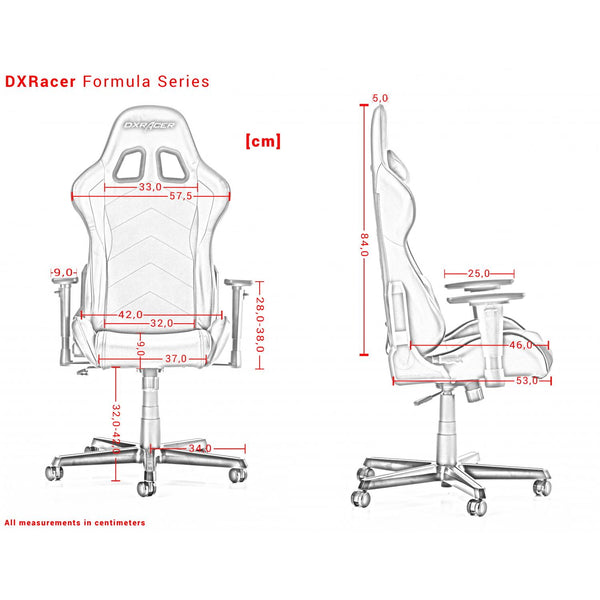 DXRacer Formula Series Measurements Išmatavimai