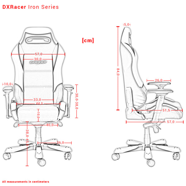 DXRacer Iron Series Measurements Išmatavimai