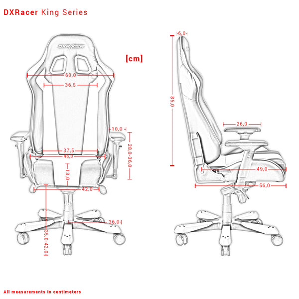 DXRacer King Series Measurements Išmatavimai