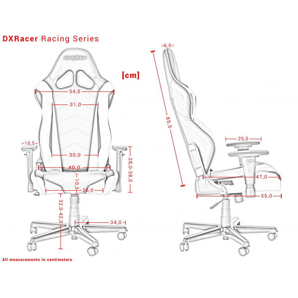 DXRacer Racing Series Measurements Išmatavimai