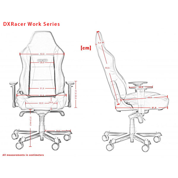 DXRacer Work Series Measurements Išmatavimai