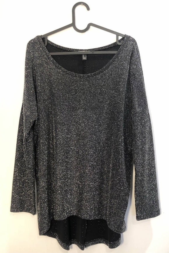 Cooles oversized Glitzer-Shirt in schwarz