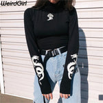Weirdgirl Women love dragon print T-shirts reflective fashion turtleneck Long Sleeve tee Slim Harajuku shirts female night Top - AMERICAN PALMA STORE