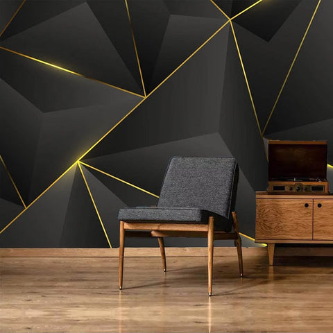 Papel Tapiz de Pared personalizado 3D Abstract Geometric Gold Striped - AMERICAN PALMA STORE