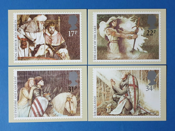Set of 4 PHQ Stamp Postcards Set No.86 Arthurian Legend 1985 CH5