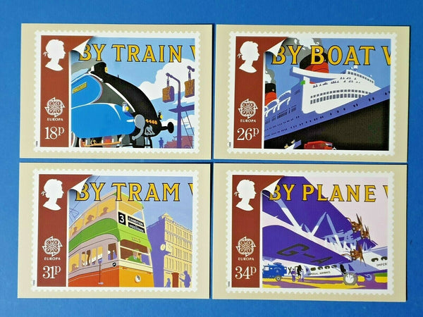 Set of 4 PHQ Stamp Postcards Set No.110 Transport and Mail Services 1988 FW2