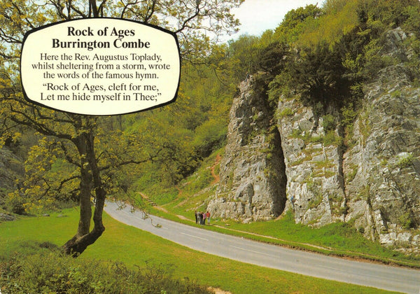 Somerset Postcard, Rock of Ages, Burrington Combe Rev. Augustus Toplady Hymn IB2