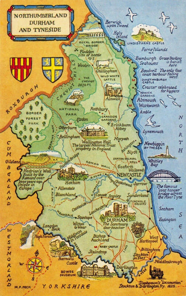 Northumberland, Durham and Tyneside Map Postcard with Coats of Arms FU0