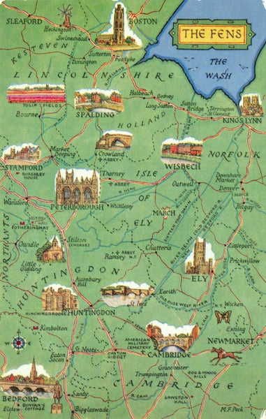 The Fens Map Postcard, Cambridgeshire, Lincolnshire, Norfolk FV2