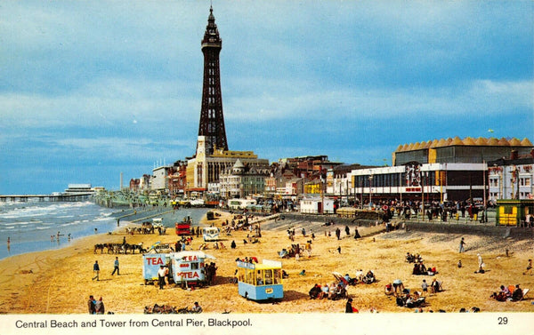 Blackpool Lancashire Postcard, Central Beach & Tower from Central Pier FB3