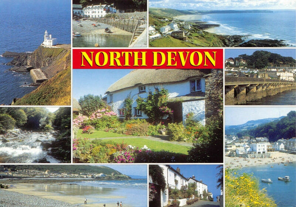 Postcard North Devon, Clovelly, Bideford, Combe Martin, Bucks Mill, Lee Bay DE8