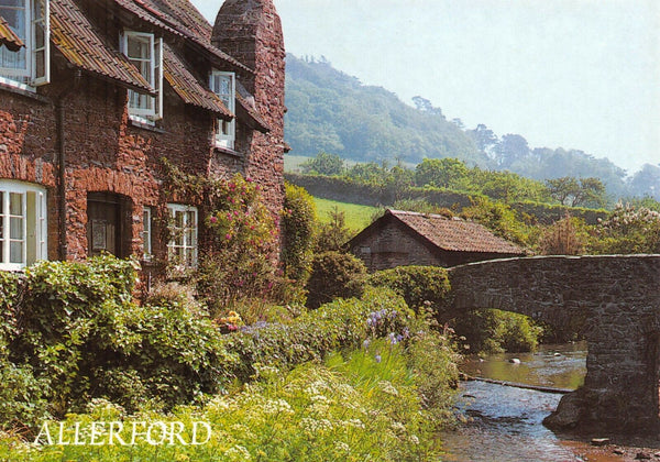 Somerset Postcard, Allerford, Cottages and Packhorse Bridge GV3